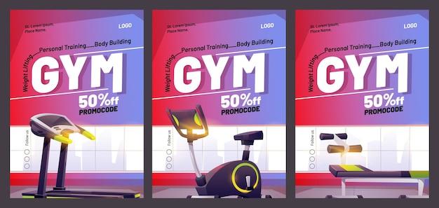 Plakat kreskówka siłowni ze sprzętem fitness