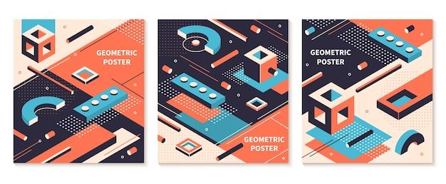 Plakat kształty izometryczne. abstrakcyjne broszury geometryczne, tła futurystycznej technologii. zestaw okładek izometrycznych kolorów graficznych