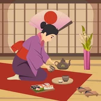 Plakat kultury japońskiej tradycji tło