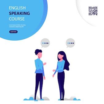 Plakat kursu języka angielskiego z płaską ilustracją