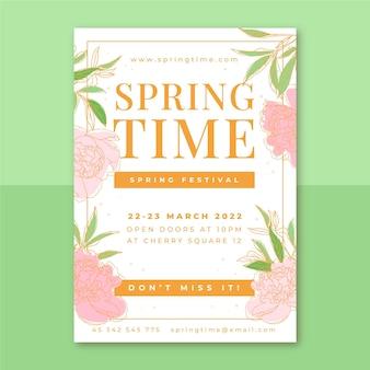 Plakat kwiatowy elegancki wiosna