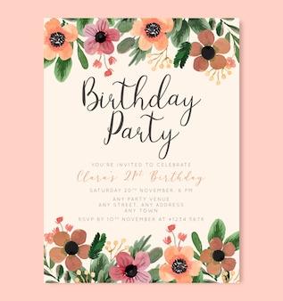 Plakat kwiatowy urodziny