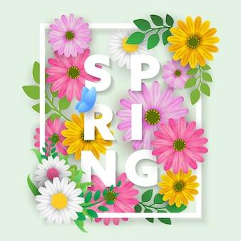 Plakat kwiatowy wiosna z kwiatami kwitnąć