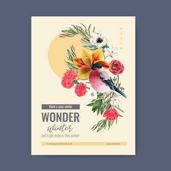 Plakat kwitną zimą z ptakiem, kwiat
