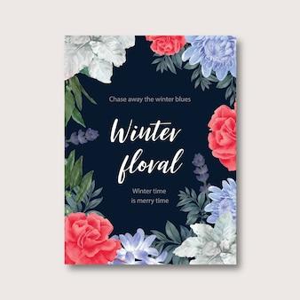 Plakat kwitnącej zimy z kwiatowymi, foliage