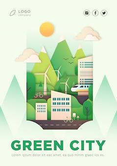Plakat lądowania ekologicznego miasta