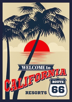 Plakat lato wektor wzór kalifornii