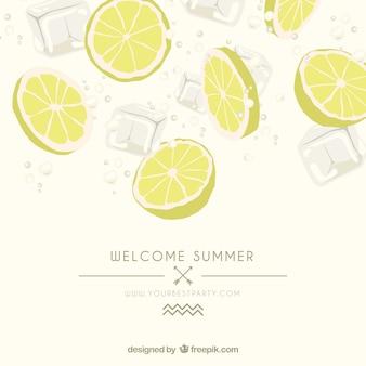 Plakat lato z plasterki cytryny