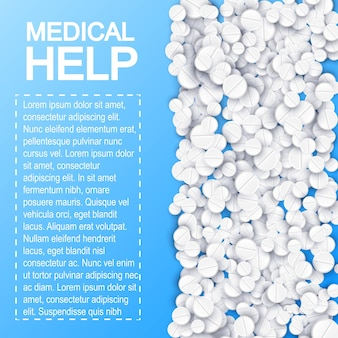 Plakat leków farmaceutycznych z tekstem i białymi pigułkami lekarskimi na niebieskiej ilustracji