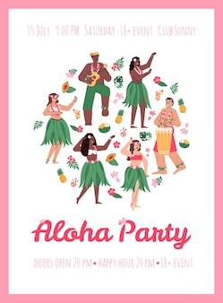 Plakat lub afisz z zaproszeniem na aloha party