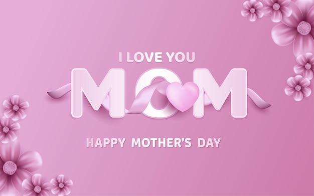 Plakat lub baner na dzień matki ze słodkimi serduszkami i różowym tle kwiatów