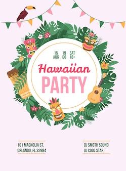 Plakat lub baner reklamujący letnią hawajską imprezę taneczną, uczestników artystów, adres, datę i godzinę. impreza z ograniczeniem wiekowym.