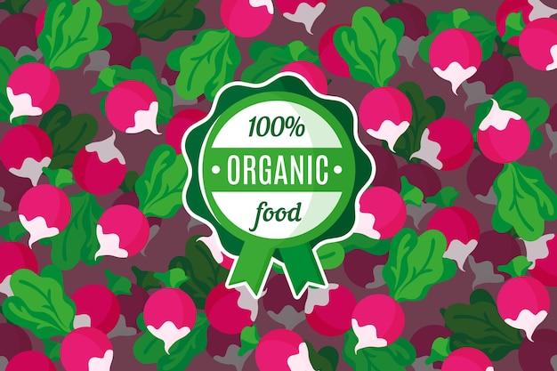 Plakat lub baner z ilustracją różowego tła rzodkiewki i okrągłej zielonej etykiety żywności ekologicznej