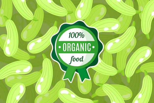 Plakat lub baner z ilustracją zielonego tła dyni i okrągłej zielonej etykiety żywności ekologicznej