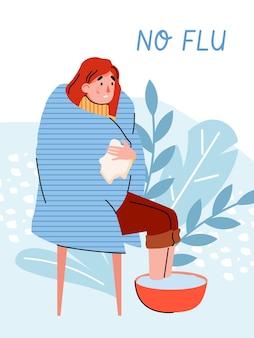 Plakat lub baner z kobietą z objawami grypy w kocu ogrzewającym jej stopy w gorącej wodzie. alternatywne domowe leczenie wirusa, koronawirusa lub przeziębienia. płaska ilustracja