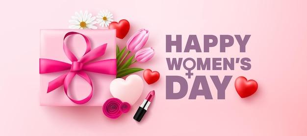 Plakat lub baner z okazji międzynarodowego dnia kobiet z pudełkiem, kwiatem i symbolem 8 z kokardki.
