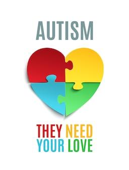 Plakat lub broszura świadomości autyzmu.