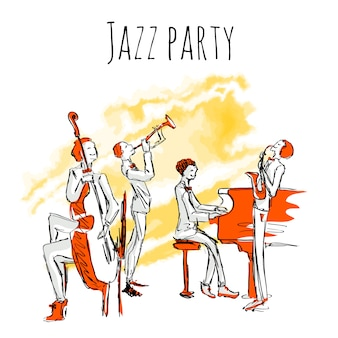 Plakat lub okładka albumu zespołu jazzowego. koncert muzyki jazzowej. kwartet gra jazz. ilustracja w stylu szkicu, na białym tle.