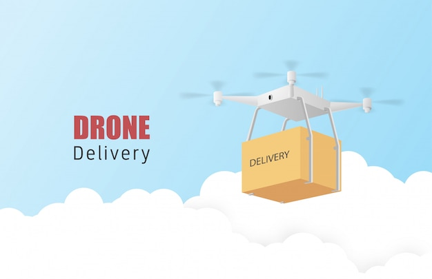 Plakat lub sztandar koncepcji dostawy drona z drone transportującym paczki w powietrzu. papierowa sztuka i rzemiosło w stylu 3d.