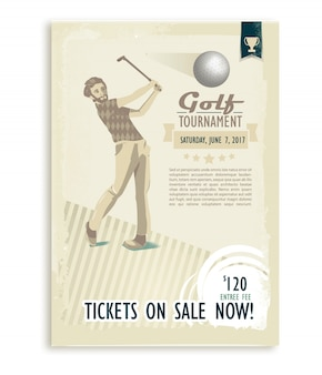 Plakat lub ulotka golfa retro z graczem w golfa