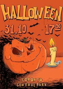 Plakat lub ulotka na imprezę halloween. latarnia z dyni i świeca.