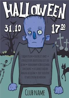Plakat lub ulotka na imprezę halloween. zombie spacerujące wśród grobów na cmentarzu.