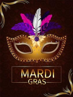Plakat lub ulotka z okazji mardi gras z kreatywną maską karnawałową