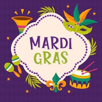 Plakat mardi gras party. karta kaligrafii i typografii
