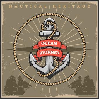 Plakat marynarki wojennej w stylu vintage