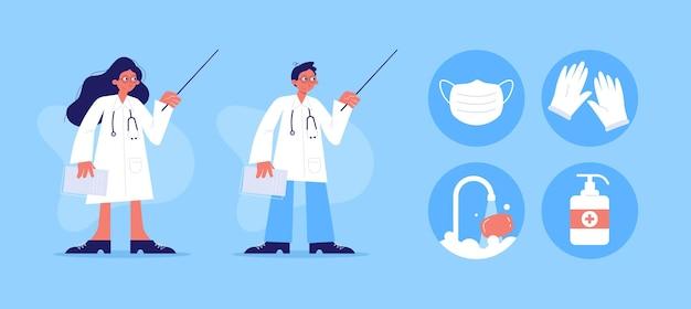 Plakat medyczny z ikonami lekarza i medycyny
