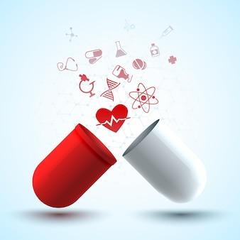Plakat medyczny z oryginalną kapsułką leczniczą składającą się z czerwonych i białych części oraz różnych przedmiotów medycznych
