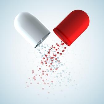Plakat medyczny z oryginalną kapsułką leczniczą składającą się z czerwonych i białych części