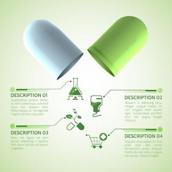 Plakat medyczny z oryginalną kapsułką leczniczą składającą się z zielonych i białych części