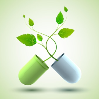 Plakat medyczny z oryginalną kapsułką leczniczą składającą się z zielonych i niebieskich części oraz liści jako ilustrację symbolu życia