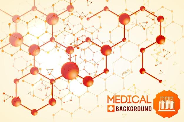 Plakat medyczny z pomarańczową oryginalną chemiczną strukturą atomową i molekularną