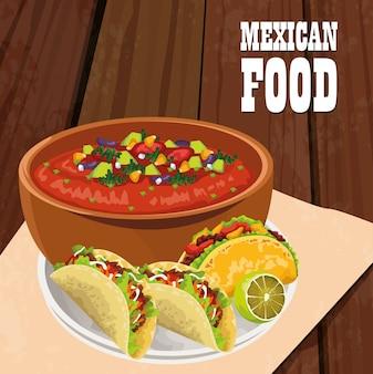 Plakat meksykańskie jedzenie z tacos