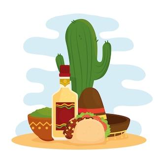 Plakat meksykańskiego jedzenia z taco, guacamole, butelką tequili, kapeluszem i kaktusem