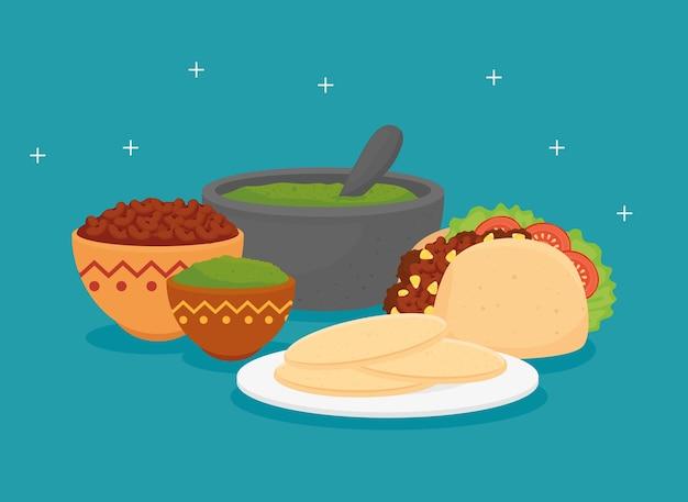 Plakat meksykańskiego jedzenia z taco i zestawem pysznych składników