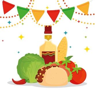 Plakat meksykańskiego jedzenia z wiszącym taco, warzywami, butelką tequili i girlandami