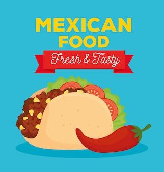 Plakat meksykańskiego jedzenia ze świeżym i smacznym taco oraz papryką chili