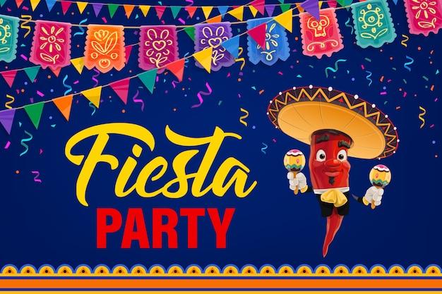 Plakat meksykańskiej fiesty. papryka z kreskówek mariachi postać meksykańska muzyk w sombrero i stroju ludowym grający na marakasach. zaproszenie na wydarzenie cinco de mayo z girlandami flag i fajerwerkami