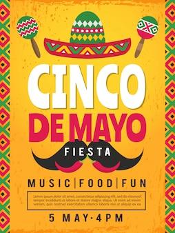 Plakat meksykańskiej fiesty. szablon zaproszenia na imprezę