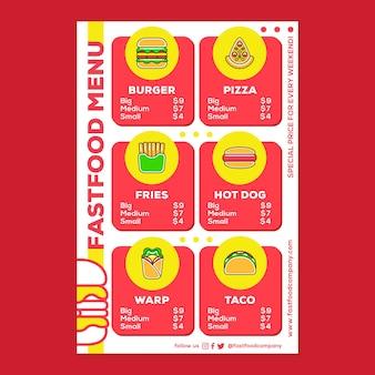 Plakat menu fast food w stylu płaska konstrukcja