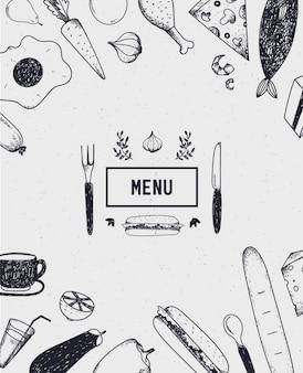 Plakat menu, okładka z ręcznie rysowane jedzenie. plakat żywnościowy, karta. czarny i biały. szablon menu restauracji, kawiarni
