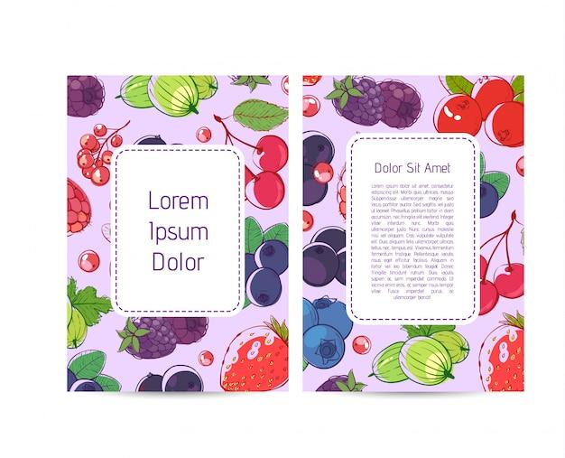 Plakat menu wegańskie kawiarnia z jagodami