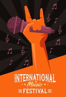 Plakat międzynarodowego festiwalu muzycznego z ręcznym podnoszeniem mikrofonu