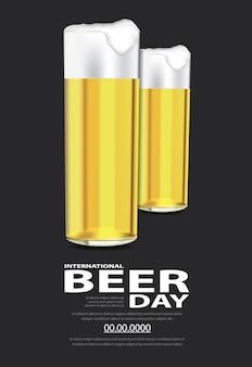 Plakat międzynarodowy dzień piwa szablon projektu ilustracji