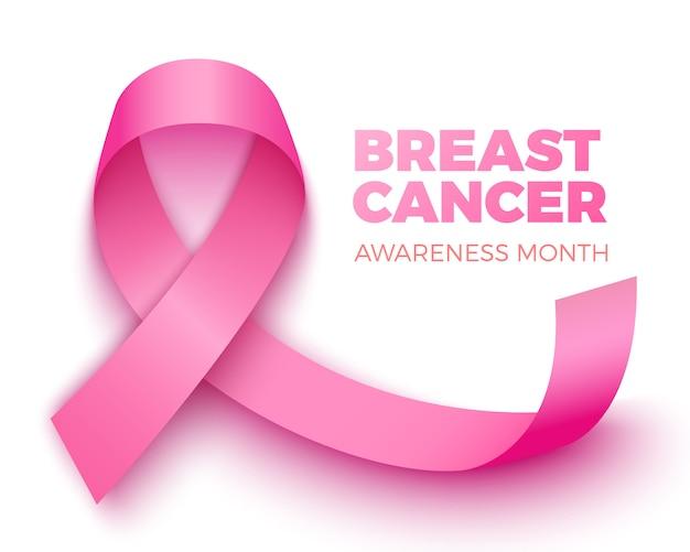 Plakat miesiąca świadomości raka piersi. różowa wstążka.