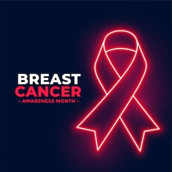 Plakat miesiąca świadomości raka piersi w stylu neonowym