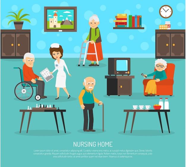 Plakat mieszkanie starszych ludzi opieki
